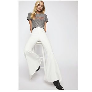NWT Free People Just Float On Flare Jean White